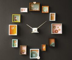 Would be especially cool with family pics. From Mbele TV    Making a wall clock can be an awesome diy project that can adds tons of charm to a vanilla room. Find some very small picture frames and fill them with whatever you like. Be crafty and creative and you'll see that the options are limitless.     http://www.burkedecor.com/Black-Hands-Wall-Clock-p/nt2269zw.htm