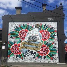 Steen Jones, 'Nothin' but Smooth Sailing' in Hawthorn, Australia, 2016 Sam King, Melbourne Street, Street Art Graffiti, Australia 2017, Recycling, Tapestry, Victoria Australia, Lp, Smooth