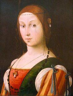 1490 Lorenzo Costa: Striped sleeves: