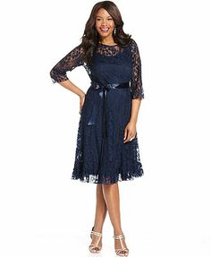 Jessica Howard Plus Size Dress, Three-Quarter-Sleeve Belted Lace A-Line My sisters's dress or reception dress. Curvy Girl Fashion, Plus Size Fashion, Women's Fashion, Plus Size Dresses, Plus Size Outfits, Pretty Dresses, Beautiful Dresses, Lace Dress, Dress Up