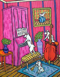 Jack Russell terrier jazz Trio dog art print 8x10 picture gift