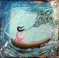 """Tableau poétique peinture acrylique """"Contre vents et marées"""" sur toile 20x20cm : Peintures par lerm"""