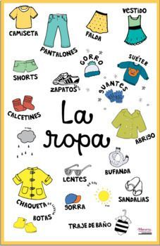 Spanish Classroom Posters: Weather  Clothing + Interactive Spanish Calendar