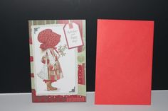 Holly Hobbie Christmas Card and Envelope red green #HollyHobbie #Christmas #card #cute #ChildhoodMemories