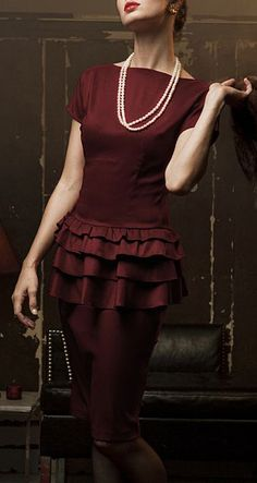 Burgundy Tiered Ruffle Moon River Dress