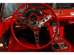 iconic dash and steering wheel of the 1960 Corvette
