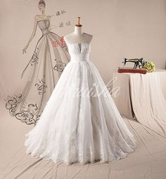 Mordern scallop sash lace appliques organza wedding dress