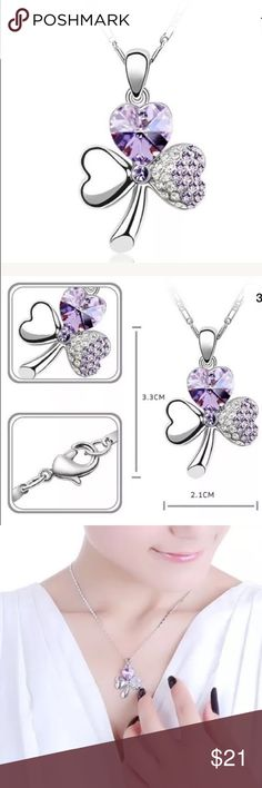 💜SILVER & PURPLE CRYSTAL THREE LEAF CLOVER💜 💜SILVER & PURPLE CRYSTAL THREE LEAF CLOVER💜 Jewelry Necklaces