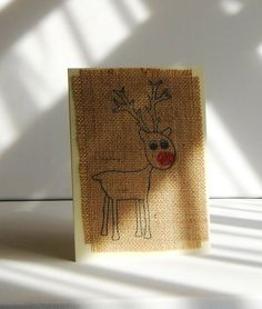 Buy Hand made greeting cards - Christmas Reindeer print on 12 oz hessian burlap. Excellent  Quality cream card & envelopes. Very Sweet Design!!! by cowdogdesign. Explore more products on http://cowdogdesign.etsy.com