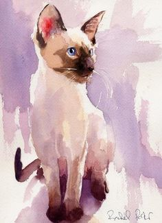 Print Siamese Cat Art Watercolor Painting Lavender Sit | eBay