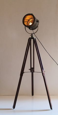 Antique Tripod Nautical Floor Lamp, Industrial Vintage Look Lamp for Living…