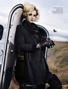 LA-based photographer Giuliano Bekor shot this aviator themed editorial for Marie Claire, with model Angelika Kocheva paying tribute to Amelia Earhart visiting Tibet.