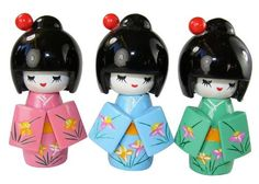 """Kokeshi Japanese 3.25"""" Wooden Dolls I, a Set of 3 Pieces"""