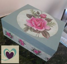 caixa vintage Decoupage Glass, Decoupage Box, Painted Boxes, Wooden Boxes, Hat Boxes, Keepsake Boxes, Decorative Boxes, Shabby, Clay