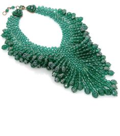 Gorgeous Emerald Green Glass Beaded Bib Necklace by Coppola e Toppo