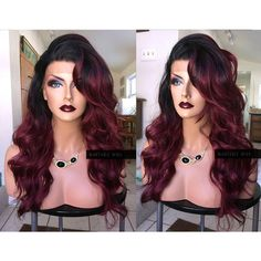 Red Lace Front Wig Ombre Burgundy Wine Red Retro Wavy Wig Curly Skin... (300 RON) ❤ liked on Polyvore featuring beauty products, haircare, hair styling tools, hair, hairstyle, wigs, bath & beauty, grey, hair care and straightening iron