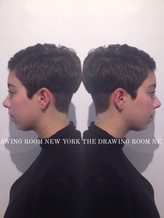 Feminine meets masculine haircut from Top Stylist Liz. Boy haircuts for girls is very on trend for Spring/Summer 2015. The back of the haircut is undercut with a pointed hairline to keep it soft and feminine. While the heavy weight line looks more like a classic mens cut. #hairstylist #pixie #femininemasculine #boycutsforgirls #hairtrend #edgyhaircut #springsummer2015 #sohostyle #hairsalon #undercut