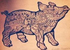 Zentangle pig