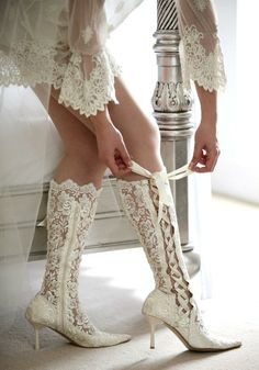 Knee Length Ivory Lace Bridal Boots House of Elliot Victorian Wedding Boots - Lace Wedding Shoes - Black Lace Boots Unique Wedding Shoes, Wedding Boots, Wedding Attire, Bride Boots, Vintage Wedding Shoes, Unique Boots, Practical Wedding, Wedding Accessories, Victorian Lace