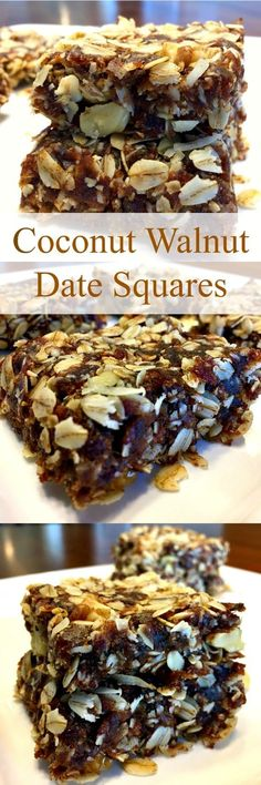 Coconut Walnut Date Squares Coconut Walnut Date Squares have heart healthy oats, they're naturally sweetened, high in fiber, rich in nutrients and full of flavor! These delicious squares also happen to be vegan, gluten-free and dairy-free. Heart Healthy Desserts, Healthy Sweets, Healthy Dessert Recipes, Healthy Baking, Whole Food Recipes, Cooking Recipes, Simple Recipes, Recipes Dinner, Free Recipes
