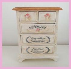 French shabby chic miniature drawers
