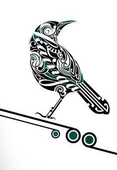 Tui Kainga by Shane Hansen for Sale - New Zealand Art Prints Maori Maori Tattoo Frau, Ta Moko Tattoo, Doodles Zentangles, Zentangle Patterns, Tui Bird, Maori Symbols, Maori Patterns, Bird Stencil, Stencil Art