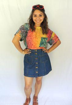 Vintage 90s rainbow water printed silk blouse. $19.99