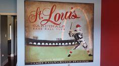 hand painted vintage St. Louis cardinals mural Boy Sports Bedroom, Busch Stadium, Cardinals, St Louis, Murals, Basement, Hand Painted, Vintage, Art