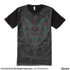 Colorful Neon Blacklight Baphomet Reversed Star All-Over Print T-shirt