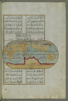 """Illuminated Manuscript, Oval Map of the World, from Book on Navigation, Walters Art Museum Ms. W.658, fol.23b  Originally composed in 932 AH / 1525 CE and dedicated to Sultan Süleyman I (""""The Magnificent""""), this great work by Piri Reis (d. 962 AH / 1555 CE) on navigation was later revised and expanded. The present manuscript, made mostly in the late 11th AH / 17th CE century, is based on the later expanded version with some 240 exquisitely executed maps and portolan charts."""