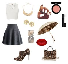 """""""Leopard print #2"""" by bvbarmy-reaper ❤ liked on Polyvore featuring Chicwish, Lanvin, Lipsy, Dolce&Gabbana, Tory Burch, Casetify, Persol, Winky Lux, Armani Beauty and Gucci"""