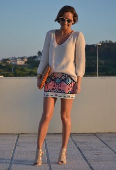 Ethnic  , Zara in Sweaters, Bershka in Skirts, Menbur in Heels / Wedges, Cool The Sack in Clutches, Ray Ban in Glasses / Sunglasses