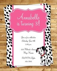 101 DALMATIANS inspired BIRTHDAY invitation any age DIGITAL file