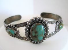 Sterling Bracelet - Native American - Turquoise Settings  - Signed Bell Trading Post Logo - Old Pawn