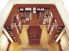 Love a U shaped closet with two entrances that way my side will never be blocked by his weird storage style! :p