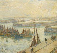 Léon De Smet (Belgian, 1881-1966), Vissersboten in de haven [Fishing boats in the port], 1922. Oil on board, 49 x 53 cm.