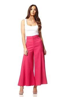 Fuscia Cropped Wide Leg Flowy Trousers