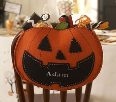 Can't forget this one - I might need to go to JoAnn fabric today!!! Pumpkin Chairbacker #PotteryBarnKids