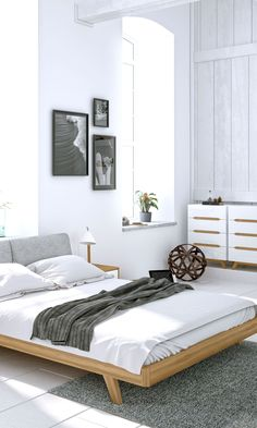 Modern bedroom featuring the Mikkel Bed and dresser set from Kure