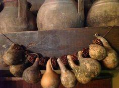 Primitive Dried Garland   Love gourds!!!