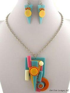 Multi-Color Modern Acrylic Design Crystal Necklace & Earrings Set