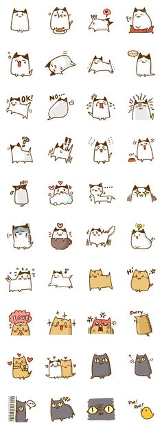 Stickers Kawaii Cats 画像 and like OMG! get some yourself some pawtastic adorable cat appa Face Doodles, Kawaii Doodles, Cat Doodle, Doodle Art, Illustration Mignonne, Budget Planer, Dibujos Cute, Kawaii Cat, Art Graphique