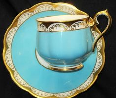 ROYAL ALBERT CROWN CHINA AQUA TURQUOISE BLUE GOLD WHITE TEA CUP AND SAUCER