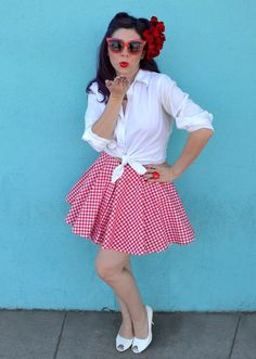 A step by step guide to creating a DIY retro-inspired, rockabilly style, pin-up girl Halloween costume.