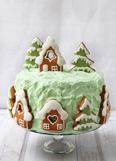 Christmas Gingerbread House, Christmas Treats, Christmas Baking, Christmas Cookies, Cake Decorating Piping, Cookie Decorating, Winter Torte, Cake Recept, Christmas Cake Designs