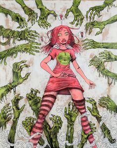 HANDS Artist: Jan Andersson, Painting, Acryl and marker on board. Online Art Gallery, Original Art, Horror, Princess Zelda, Hands, Graphic Design, Marker, Artwork, Artist