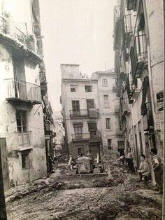 Calle de Na Jordana,barrio del Carmen.Riada de 1957