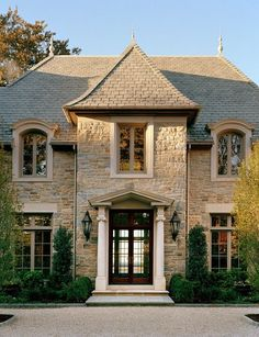 French Homes Exterior. French Homes Exterior Ideas. French Homes Stone Exterior. Front Door is are made by Dynamic Windows & Doors. - Luxury Homes Luxury Homes Exterior, Exterior Design, Facade Design, French Architecture, Architecture Design, Stone Houses, Stone Exterior Houses, House Exteriors, French Country House