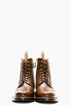 Foot The Coacher Brown Leather Brogue Boots for men | SSENSE