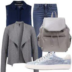 Tra un pò ricominceranno le lezioni all'università e questo look è perfetto per un ritorno in grande stile: jeans, camicetta, sneakers e zainetto e se fa freddo una giacca grigia ti accompagneranno nell'inizio del nuovo anno accademico.